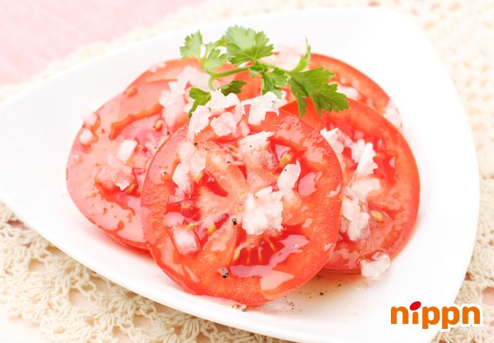 冷やしトマトのアマニがけ